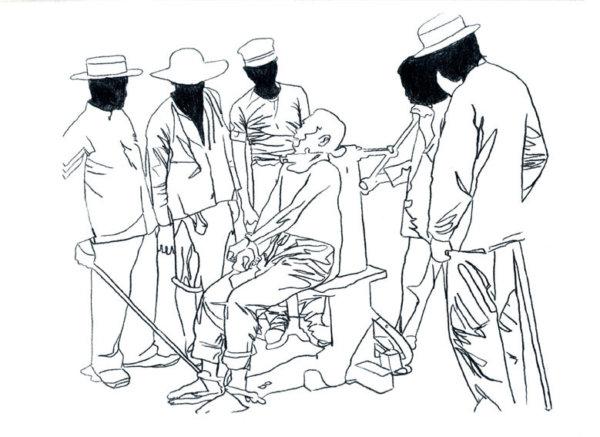 a Hubert Czerepok, Seances (after Disasters of War), 2009, dessin à l'encre sur papier.