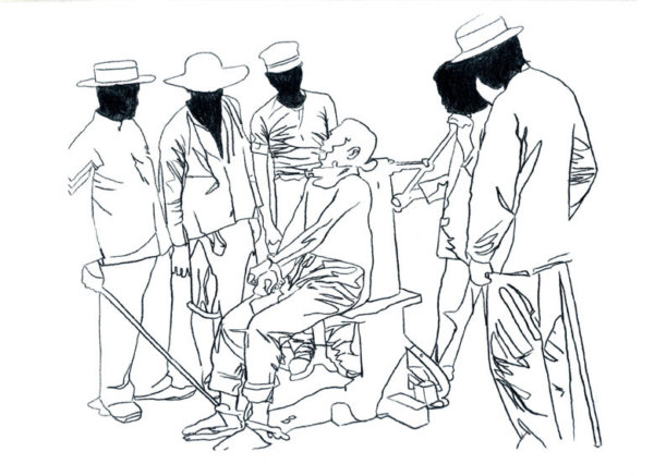a Hubert Czerepok, Seances (after Disasters of War), 2009, dessin à l'encre sur papier.
